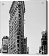 Flat Iron In Black And White Acrylic Print by Bill Cannon