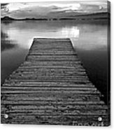 Flathead Lake Dock Sunset - Black And White Acrylic Print