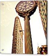 Flatiron Building And 5th Avenue Clock Acrylic Print