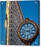 Flatiron Clock Acrylic Print