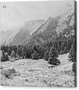 Flatirons In Winter - Black And White Acrylic Print