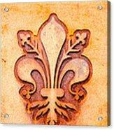 Fleur De Lis On A Rusty Metal Plate Acrylic Print