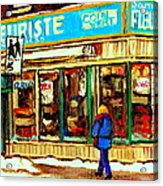 Fleuriste Notre Dame Flower Shop Paintings Carole Spandau Winter Scenes Acrylic Print