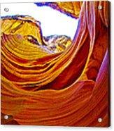 Flexibility Rock In Lower Antelope Canyon Near Page-arizona  Acrylic Print