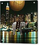 Flight Over The New York Skyline On A Hot Air Balloon Acrylic Print by Marvin Blaine