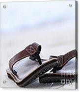 Flip-flops On Beach Acrylic Print