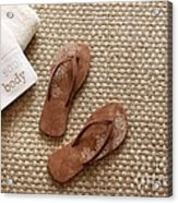 Flip Flops With Towels On Seagrass Rug Acrylic Print