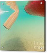 Floating Red Canoe From Underwater Acrylic Print