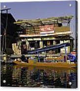 Floating Shop Along With Another Shop On Floats In The Dal Lake Acrylic Print