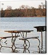 Flooded Park Bench Lunch Acrylic Print