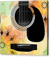 Floral Abstract Guitar 14 Acrylic Print