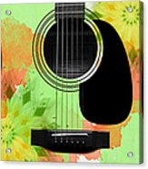 Floral Abstract Guitar 15 Acrylic Print