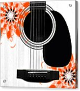 Floral Abstract Guitar 32 Acrylic Print