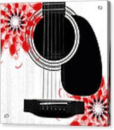 Floral Abstract Guitar 33 Acrylic Print
