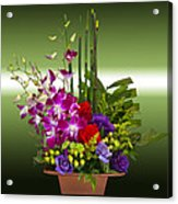 Floral Arrangement - Green Acrylic Print by Chuck Staley
