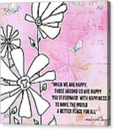 Floral Typography Word Art Quote Flowers And Butterflies By Megan Duncanson Acrylic Print