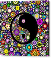 Floral Yin Yang Acrylic Print by Tim Gainey