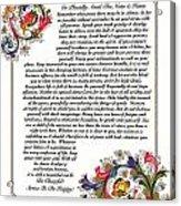 Florentine Desiderata Poster Acrylic Print
