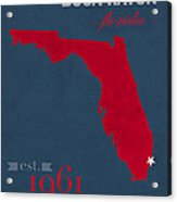 Florida Atlantic University Owls Boca Raton College Town State Map Poster Series No 037 Acrylic Print