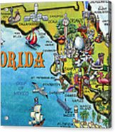 Florida Cartoon Map Acrylic Print