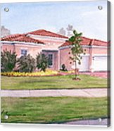 Florida House Watercolor Portrait Acrylic Print