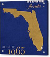 Florida International University Panthers Miami College Town State Map Poster Series No 038 Acrylic Print