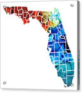 Florida - Map By Counties Sharon Cummings Art Acrylic Print