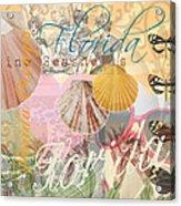 Florida Seashells Collage Acrylic Print