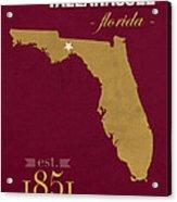 Florida State University Seminoles Tallahassee Florida Town State Map Poster Series No 039 Acrylic Print