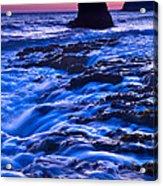 Flow - Dramatic Sunset View Of A Sea Stack In Davenport Beach Santa Cruz. Acrylic Print