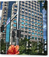 Flower And Skyscraper Acrylic Print