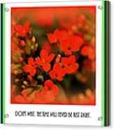 Flower And Time Quote Acrylic Print