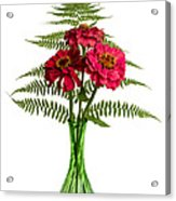 Flower Arrangement With Ferns And Zinnias Acrylic Print