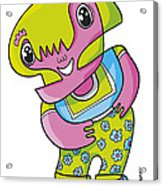 Flower Girl Doodle Character Acrylic Print by Frank Ramspott