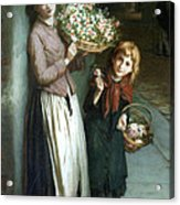 Flower Girls A Summer Night Acrylic Print by Augustus Edwin Mulready