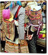 Flower Hmong Mothers And Babies Acrylic Print