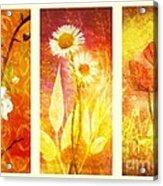 Flower Love Triptic Acrylic Print