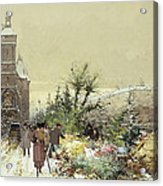 Flower Market Marche Aux Fleurs Acrylic Print by Eugene Galien-Laloue