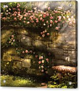 Flower - Rose - In The Rose Garden  Acrylic Print by Mike Savad