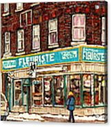 Flower Shop Rue Notre Dame Street Coin Vert Fleuriste Boutique Montreal Winter Stroll Scene Acrylic Print