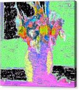 Flower Vase On Window Seal With Black. Acrylic Print