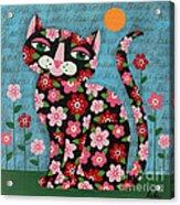 Flowered Calico Black Cat Acrylic Print