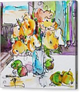 Flowers And Green Apples Acrylic Print