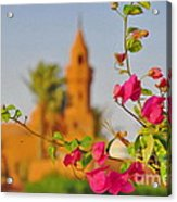 Flowers And Mosque Acrylic Print by George Paris