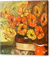 Flowers And Red Pitcher Acrylic Print