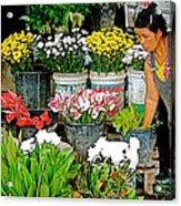 Flowers For Sale In Marketplace In Tachilek-burma Acrylic Print