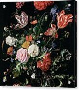 Flowers In A Glass Vase, Circa 1660 Acrylic Print