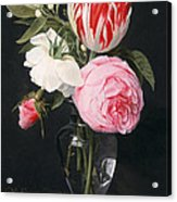Flowers In A Glass Vase Acrylic Print by Daniel Seghers