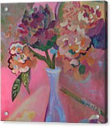 Flowers In A Lavender Vase Acrylic Print