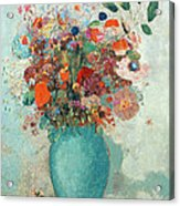 Flowers In A Turquoise Vase Acrylic Print